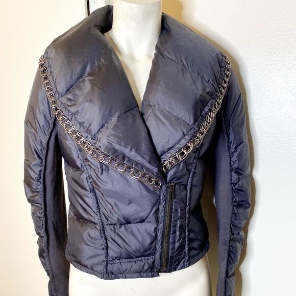 BCBGMaxAzria Jackets & Blazers - Bcbgmaxazria Navy Puffy Jacket w Chain Trim S